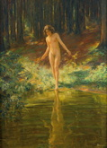 Bathing in a Forest Pond - Wilhelm Hempfing