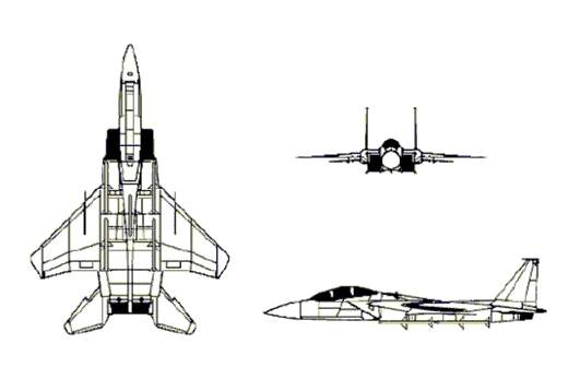 F-15D 3-view