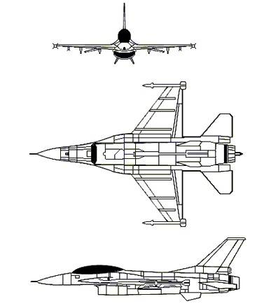 F-16D 3-view