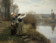 Hailing the Ferry - Daniel Ridgway Knight