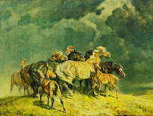 Horses in a Storm - Alfred Rollof